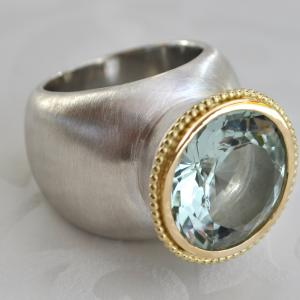 silver statement ring with 18k yellow gold and aquamarine
